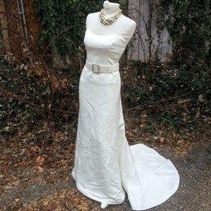 Simple Strapless Ivory wedding gown MikaellaBridal